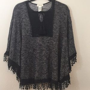 Starlet Black Lace Knitted Fringed Poncho- Size 1X